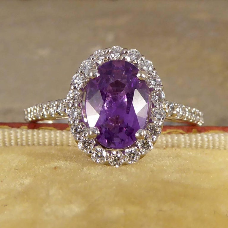Purple Sapphire Diamond 18 Carat White Gold Engagement Ring For Sale 3
