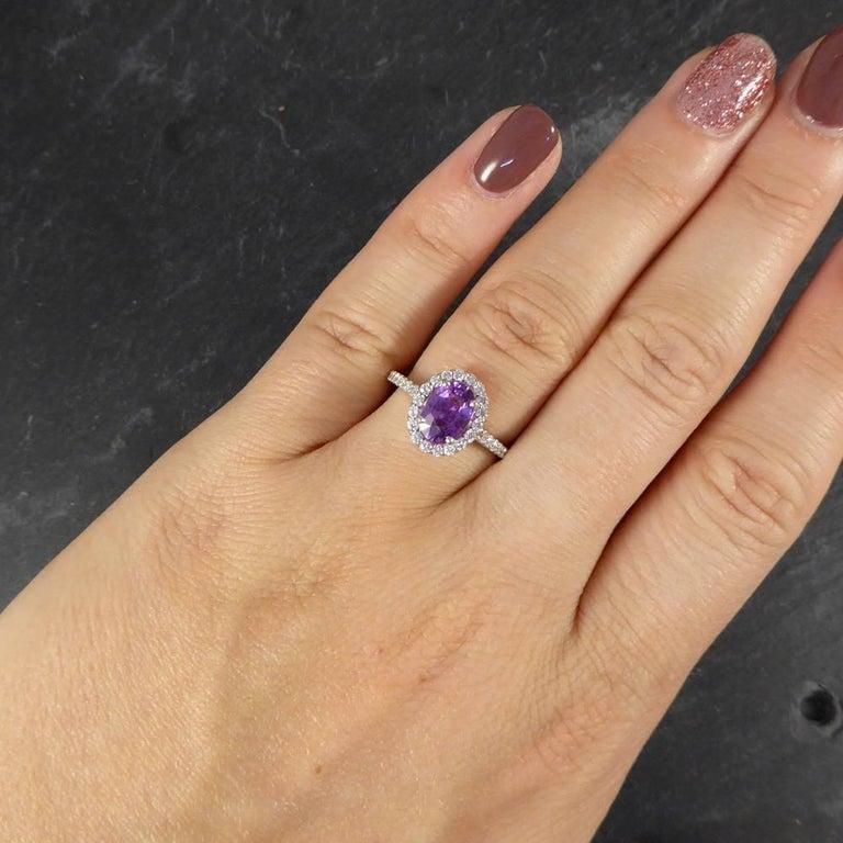 Purple Sapphire Diamond 18 Carat White Gold Engagement Ring For Sale 4