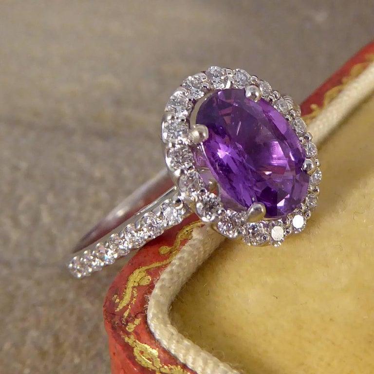 Purple Sapphire Diamond 18 Carat White Gold Engagement Ring For Sale 5