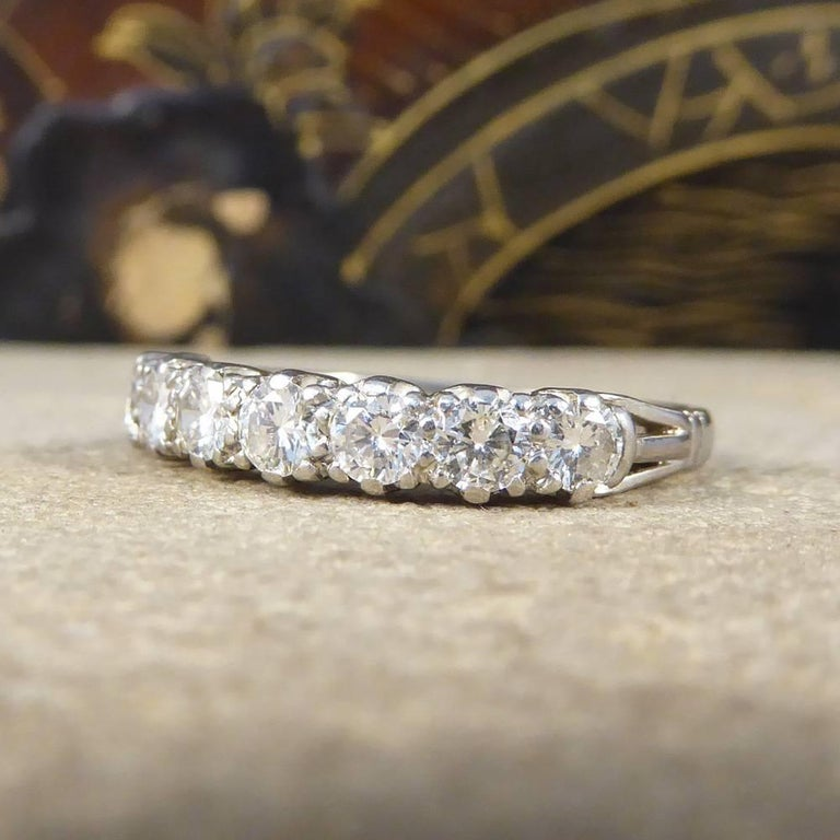 Women's Vintage Multi Stone Diamond 18 Carat White Gold Ring For Sale