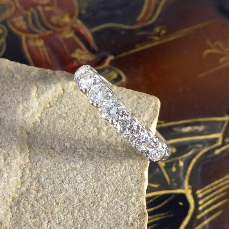 Vintage Multi Stone Diamond 18 Carat White Gold Ring For Sale 3