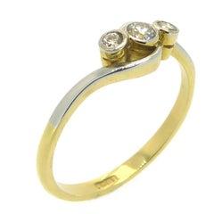 Art Deco Vintage Three-Stone Diamond Ring in Cross over Twist Design