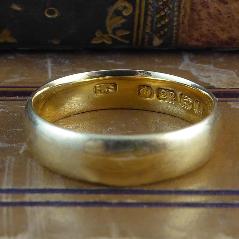 Art Deco Antique Gold Wedding Ring 22 Carat Yellow Birmingham 1919 Hallmark For
