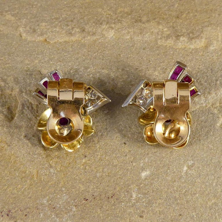 Retro 1950s Ruby and Diamond Floral Earring and Pin Set in 18 Carat Yellow Gold For Sale
