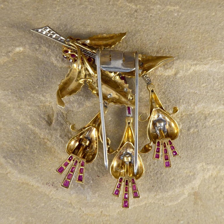 1950s Ruby and Diamond Floral Earring and Pin Set in 18 Carat Yellow Gold In Good Condition For Sale In Yorkshire, West Yorkshire