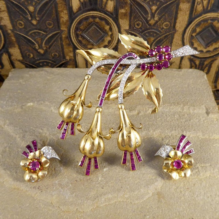 1950s Ruby and Diamond Floral Earring and Pin Set in 18 Carat Yellow Gold For Sale 4