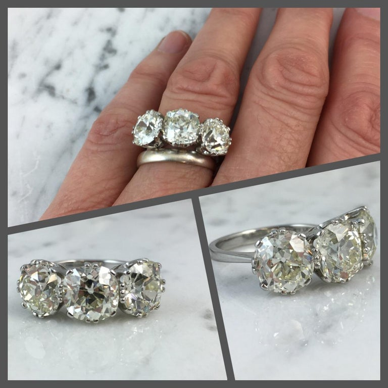 Old European Cut Victorian Old Cut Diamond Ring, 7.39 Carat, Remounted in Platinum Setting For Sale