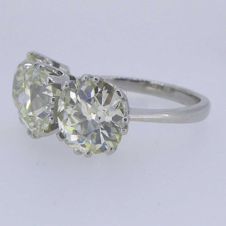 Women's or Men's Victorian Old Cut Diamond Ring, 7.39 Carat, Remounted in Platinum Setting For Sale