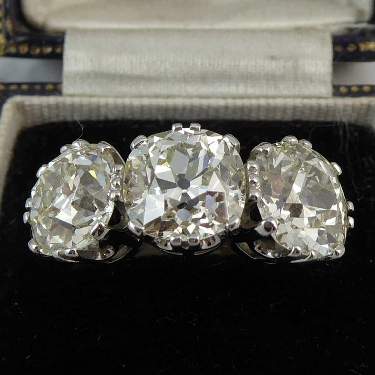 Victorian Old Cut Diamond Ring, 7.39 Carat, Remounted in Platinum Setting For Sale 1
