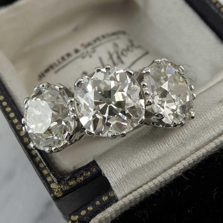 Victorian Old Cut Diamond Ring, 7.39 Carat, Remounted in Platinum Setting For Sale 2