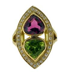 Pear Cut Pink Tourmaline and Peridot Cocktail Dress Ring, Marquise Diamond Halo
