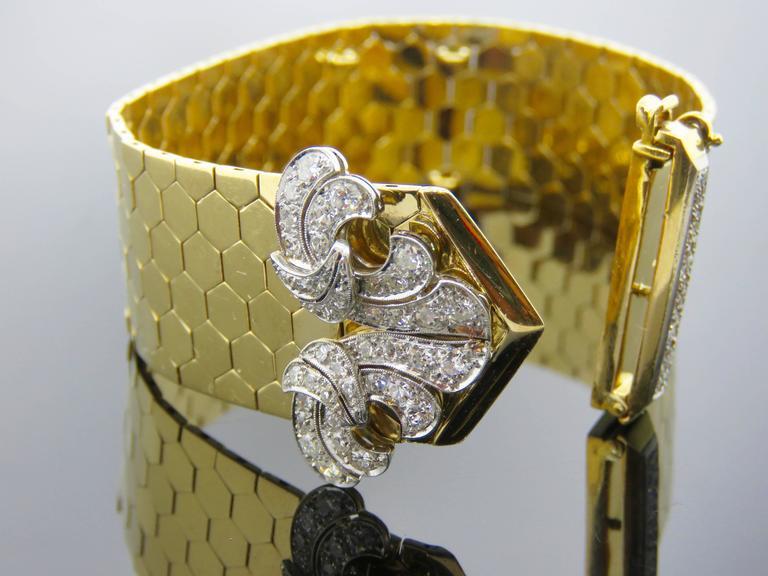 Retro Van Cleef & Arpels Diamond Gold  Buckle Bracelet For Sale 1
