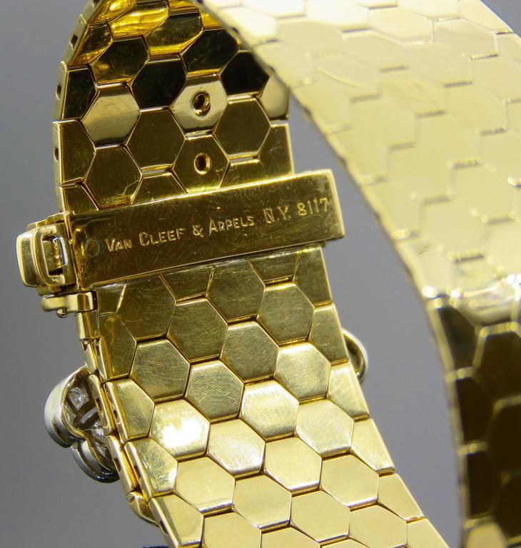 Retro Van Cleef & Arpels Diamond Gold  Buckle Bracelet For Sale 3