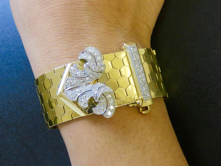 Retro Van Cleef & Arpels Diamond Gold  Buckle Bracelet For Sale 5