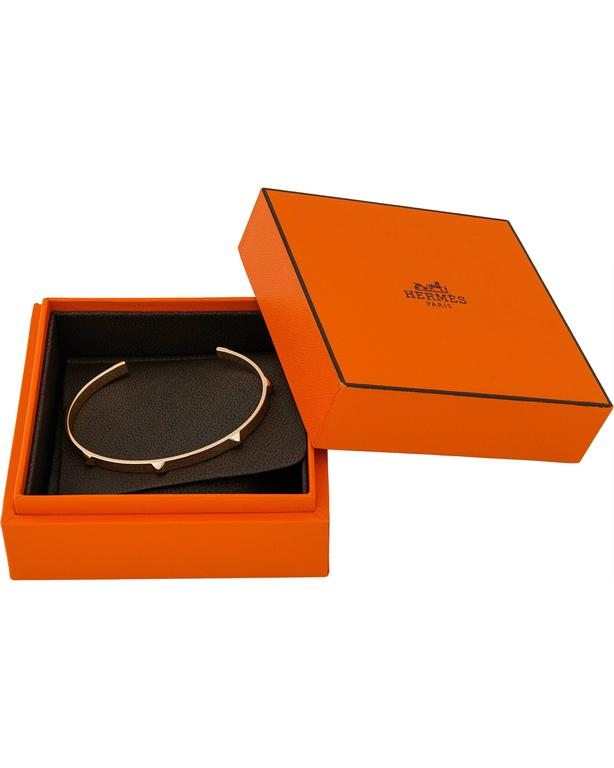 Hermes Rose Gold Bangle Bracelet In New Condition For Sale In New York, NY