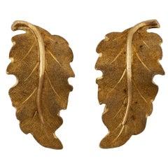 Mario Buccellati 18 Karat Yellow Gold Leaf Earrings