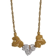 Mario Buccellati 18 Karat Yellow and White Gold Diamond Leaf Necklace