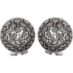 Mario Buccellati 18 Karat White Gold Diamond Earrings