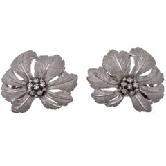 Mario Buccellati 18 Karat White Gold Diamond Flower Head Earrings