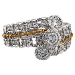 Mario Buccellati 18 Karat Yellow and White Gold Diamond Ring