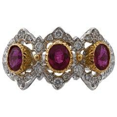 Mario Buccellati 18 Karat Yellow and White Gold Diamond Ruby Ring