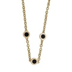 Bvlgari 18 Karat Yellow Gold Black Onyx Three Station Necklace