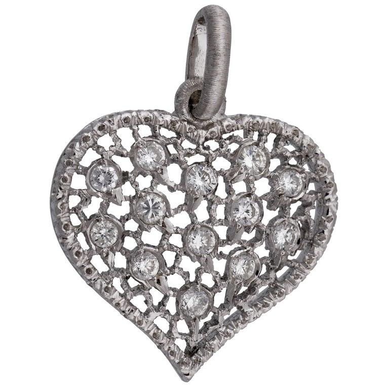 Mario Buccellati 18 Karat White Gold Diamond Heart Shaped Pendant