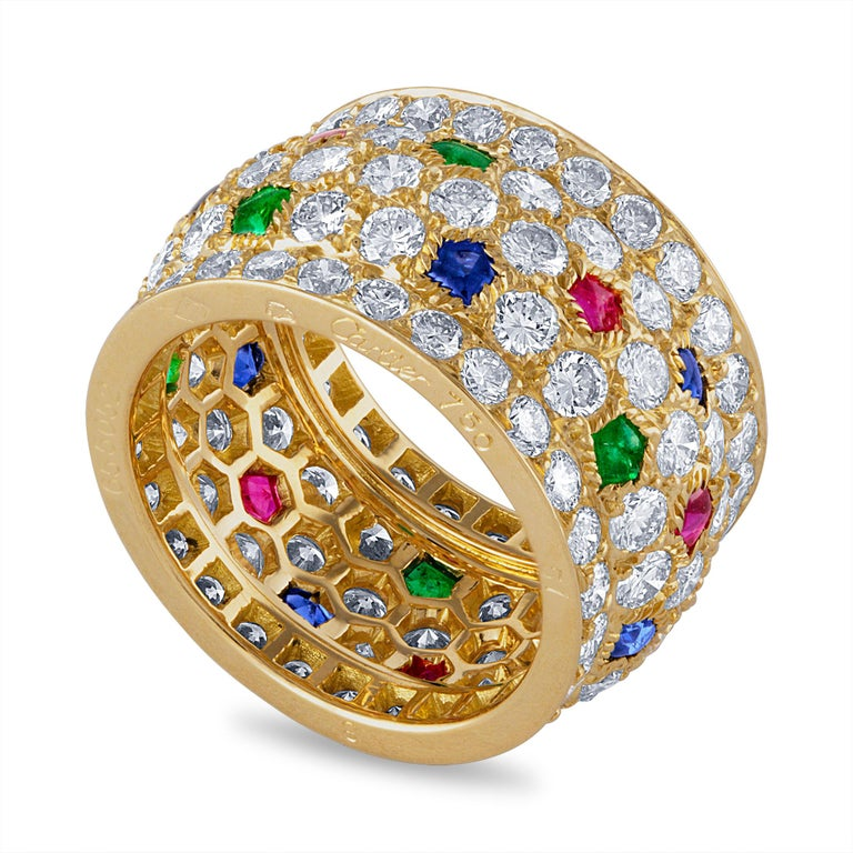 Cartier 18 Karat Yellow Gold Sapphire, Emerald, Ruby and Diamond Ring In Excellent Condition For Sale In New York, NY