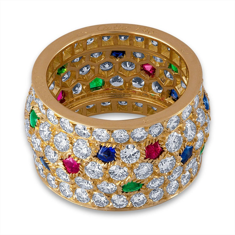 Women's Cartier 18 Karat Yellow Gold Sapphire, Emerald, Ruby and Diamond Ring For Sale