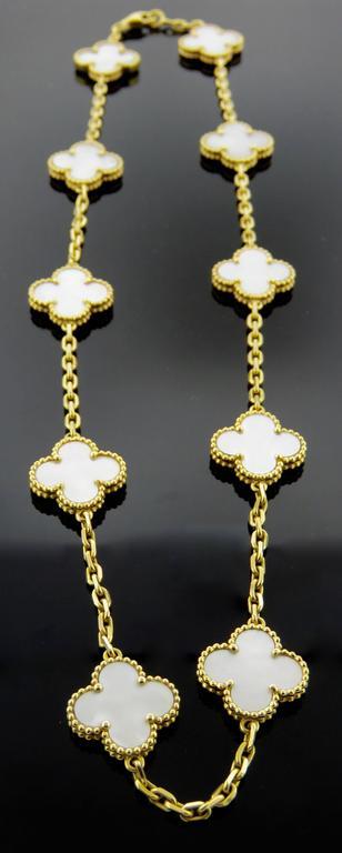 Van Cleef & Arpels Alhambra Mother-of-Pearl Necklace and Bracelet Set 3