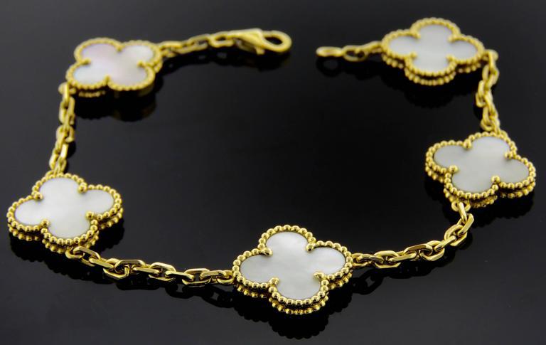 Van Cleef & Arpels Alhambra Mother-of-Pearl Necklace and Bracelet Set 4