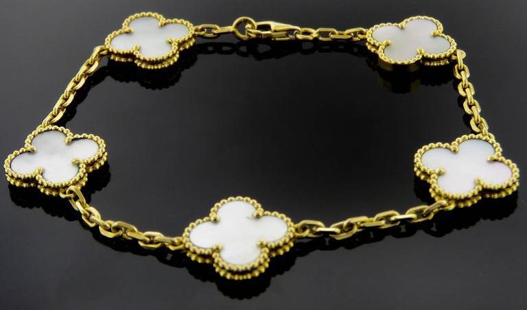 Van Cleef & Arpels Alhambra Mother-of-Pearl Necklace and Bracelet Set 5