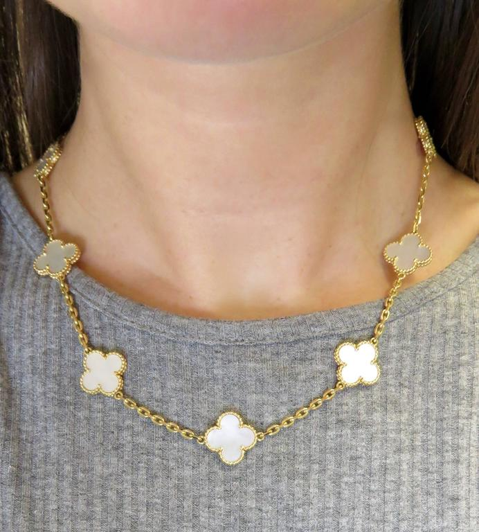 Van Cleef And Arpels Mother Of Pearl Necklace: Van Cleef And Arpels Alhambra Mother-of-Pearl Necklace And