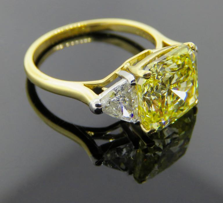 Cartier Fancy Intense Yellow Radiant Diamond Gold Ring 5