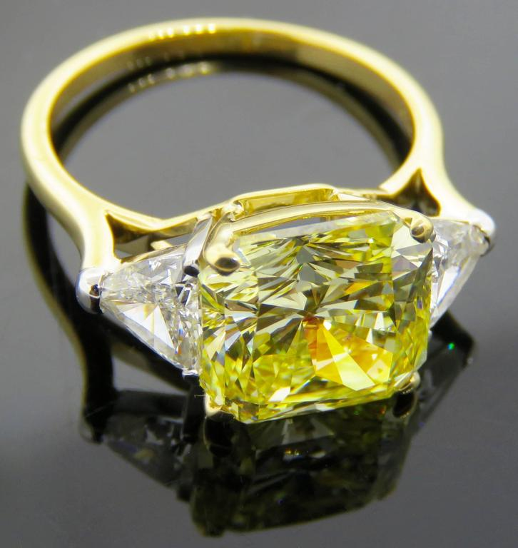 Cartier Fancy Intense Yellow Radiant Diamond Gold Ring 6