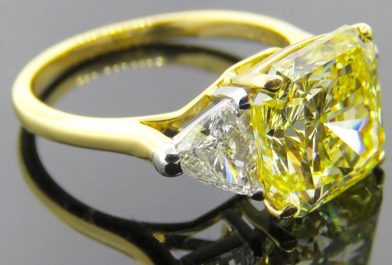 Cartier Fancy Intense Yellow Radiant Diamond Gold Ring 7