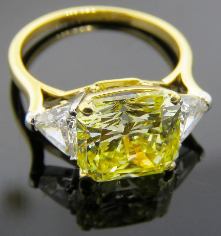 Cartier Fancy Intense Yellow Radiant Diamond Gold Ring 8