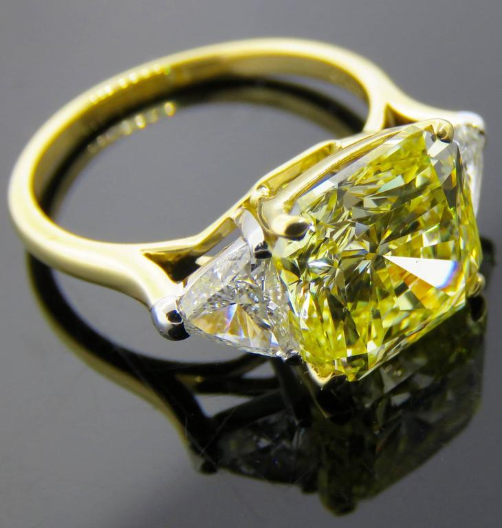 Cartier Fancy Intense Yellow Radiant Diamond Gold Ring 9