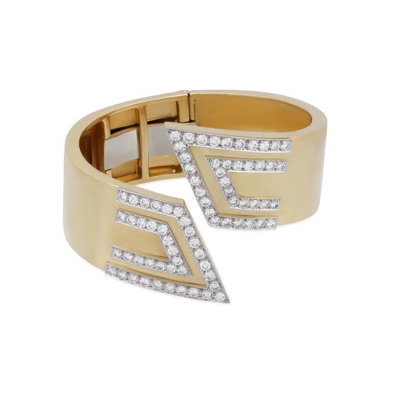 Women's David Webb Diamond Gold Cuff Bracelet For Sale