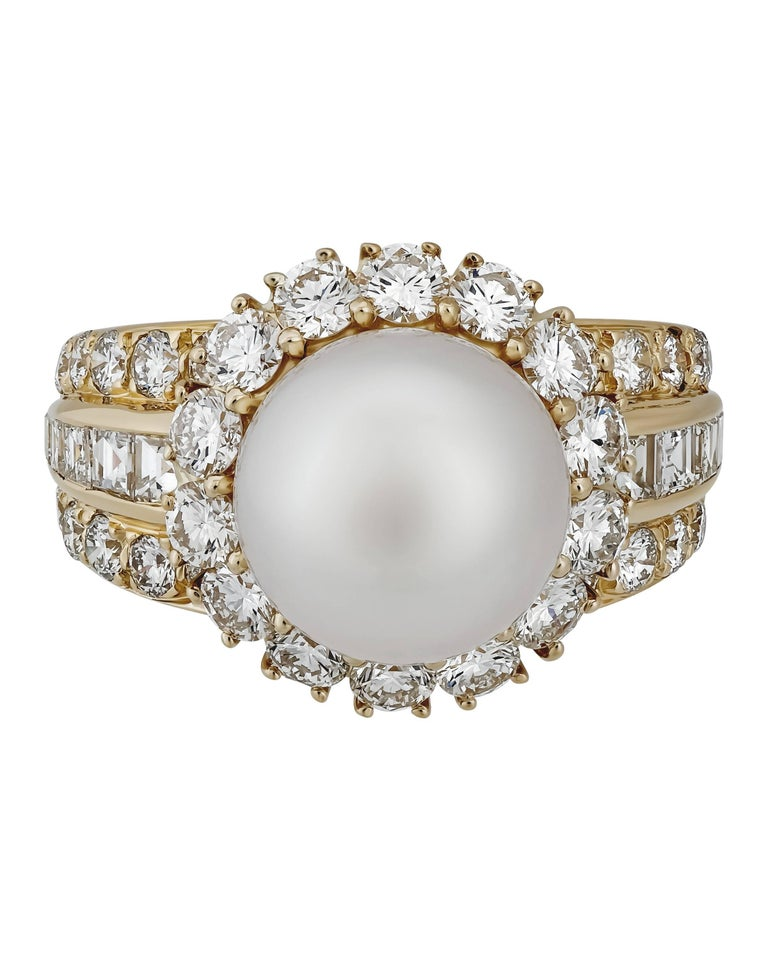 Van Cleef & Arpels 18K Yellow Gold Diamond Pearl Cocktail Ring.  On this stunning size 6.5 Ring. The diamonds equal 2.90pts TCW and the pearl size is 10.5mm.