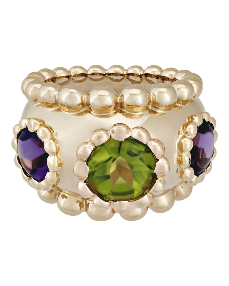 Chanel Gold Purple Amethyst and Green Peridot Ring 2