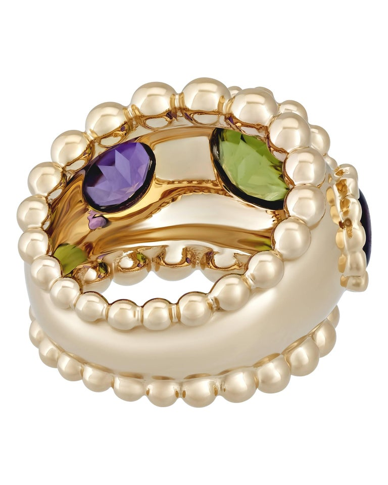Chanel Gold Purple Amethyst and Green Peridot Ring 3