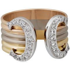 "Cartier ""C"" Yellow White and Rose Gold Ring"