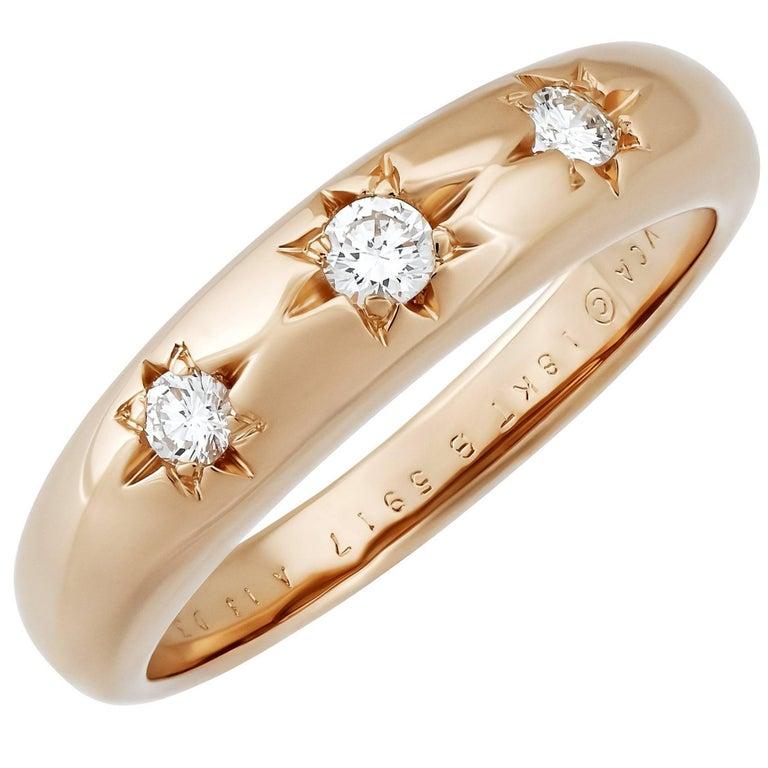 Van Cleef & Arpels 18 Karat Rose Gold Diamond Ring
