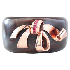 Retro Ruby Wood Cuff Bangle