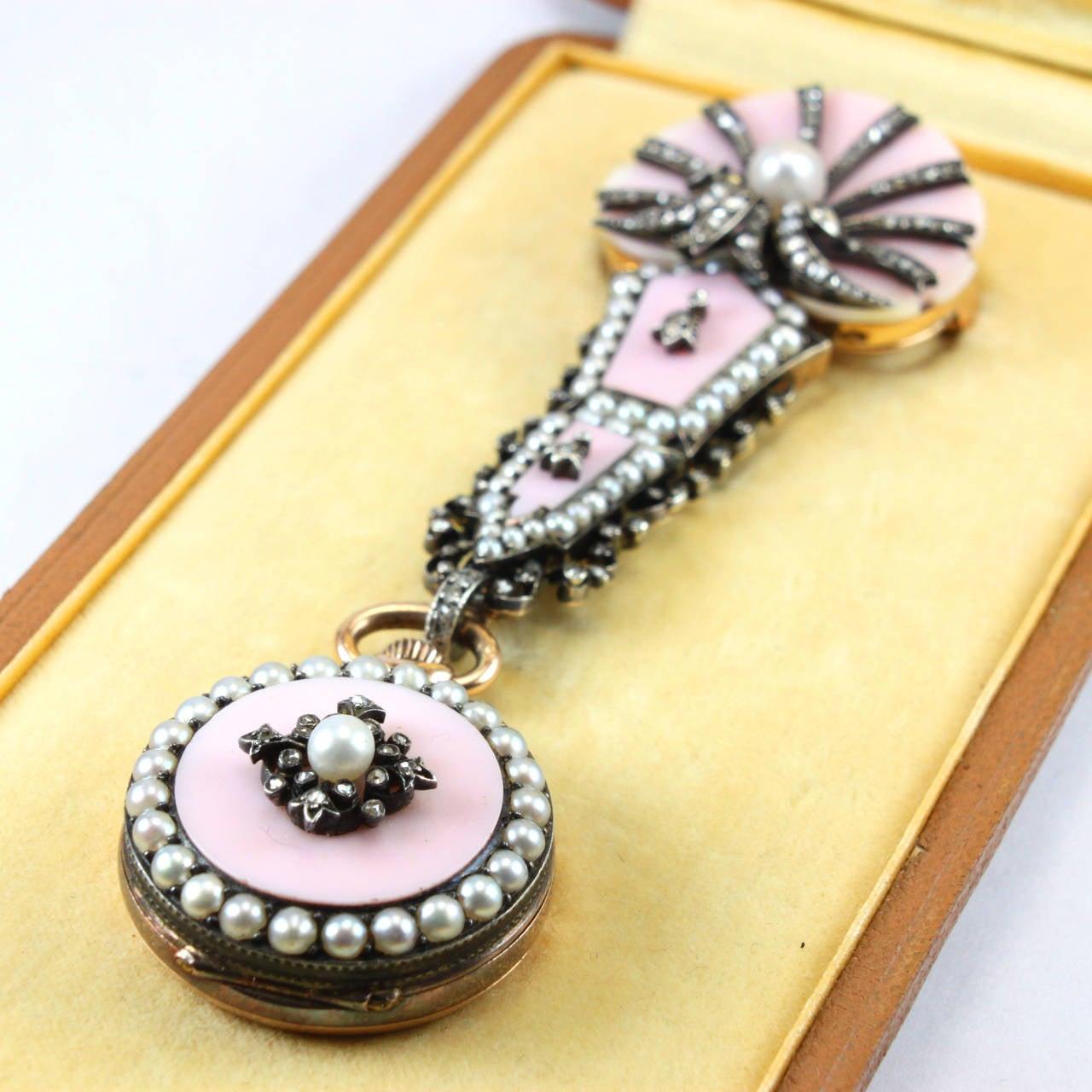 Pink Shell Diamond Pearl Yellow Gold Lapel Watch Brooch 5