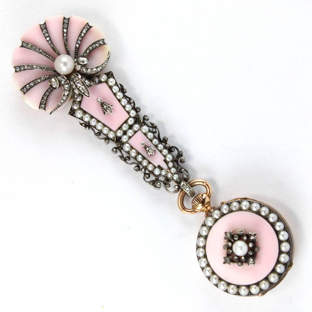 Pink Shell Diamond Pearl Yellow Gold Lapel Watch Brooch 3