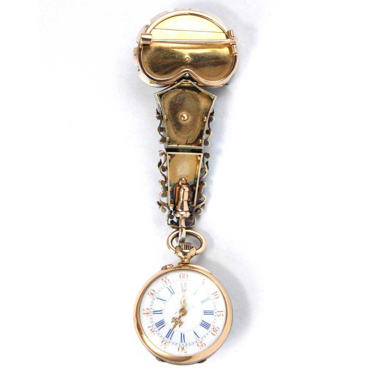 Pink Shell Diamond Pearl Yellow Gold Lapel Watch Brooch 4