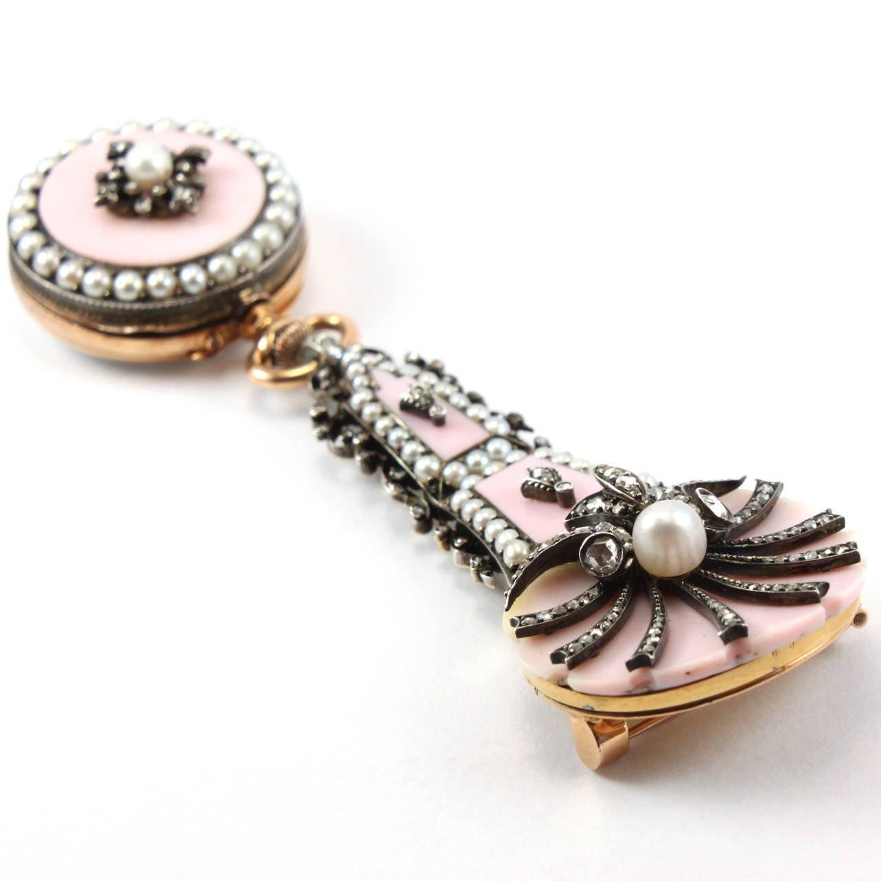 Pink Shell Diamond Pearl Yellow Gold Lapel Watch Brooch 6