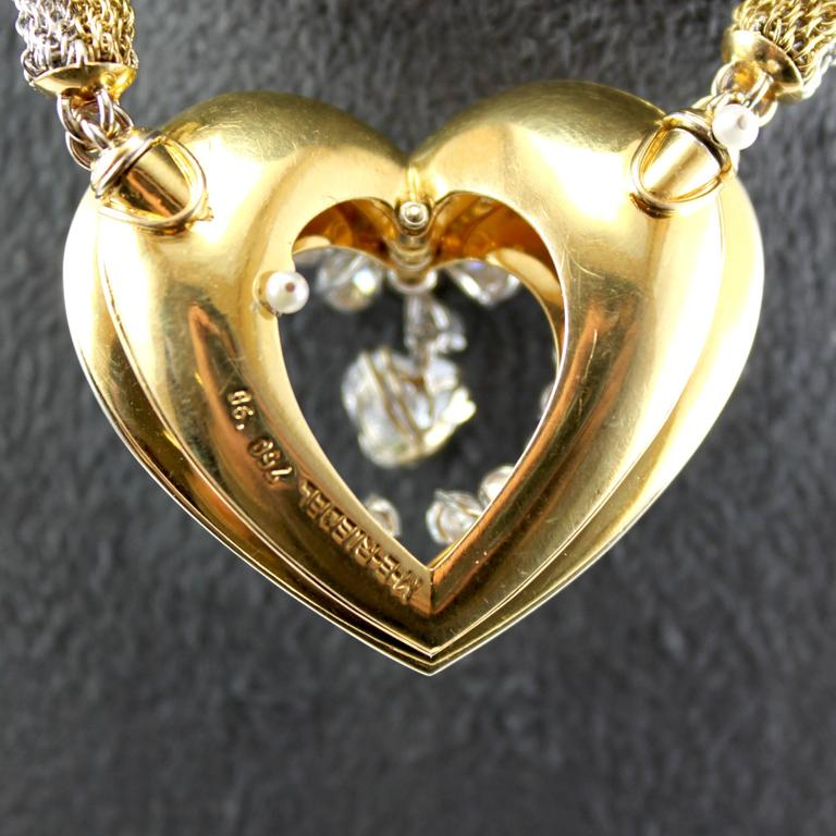 ME Riedel Diamond Gold Heart Pendant Necklace In Excellent Condition For Sale In Idar-Oberstein, DE